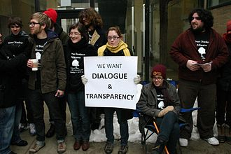 Transparency (behavior) - Shimer College students demonstrate in favor of transparency in school administration, 2010