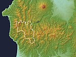 Shirakami Mountains Relief Map, SRTM-1 (with UNESCO World Heritage Site).jpg