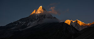 Shivling and Meru Himalayan mountain peaks at sunrise Uttarakhand India.jpg