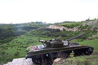 Republic of Artsakh - A T-72 tank standing as a memorial commemorating the Capture of Shusha.