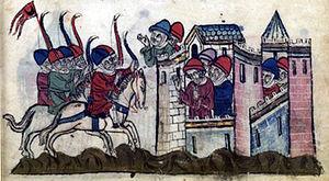 Kitbuqa - Siege of Sidon: Kitbuqa vs. Julian Grenier in 1260. From Hayton of Corycus, Fleur des histoires d'orient.