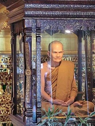 Mun Bhuridatta - A Wax statue of Ajahn Mun at Wat Chedi Luang, Chiang Mai, Thailand.