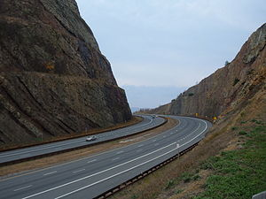 Sideling Hill - Interstate 68 road cut in Sideling Hill in western Maryland