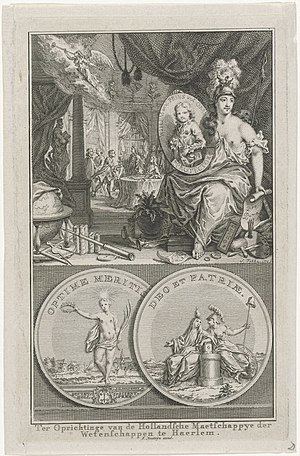 Koninklijke Hollandsche Maatschappij der Wetenschappen - Commemorative print to celebrate the founding of the Dutch Society of Science in 1752, featuring the prize medal Johann Georg Holtzhey designed for them; engraving by Simon Fokke