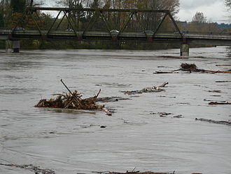 Snohomish River - Debris in the  November 2006 flood is swept under the  Route 9 Bridge.