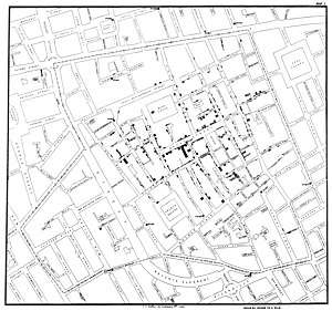 Thematic map - John Snow's cholera map about the cholera deaths in London in the 1840s, published 1854.