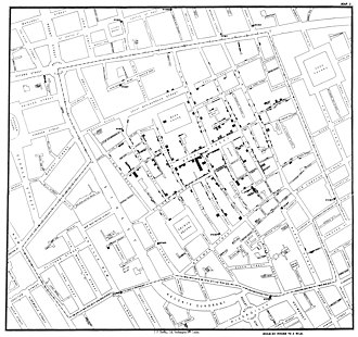 Natural experiment - Original map by John Snow showing the clustering of cholera cases in Soho during the London epidemic of 1854