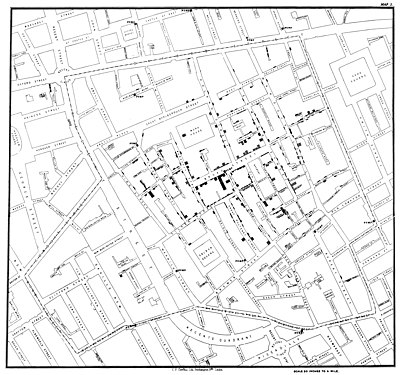 John Snow's dot map, showing the clusters of cholera cases in the London epidemic of 1854. Snow-cholera-map-1.jpg