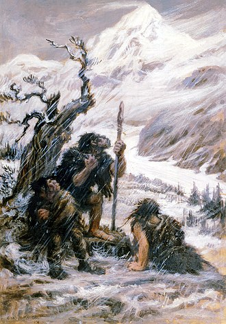 Neanderthal extinction - Snowbound, painting of Neanderthals in a blizzard, Charles R. Knight, 1911