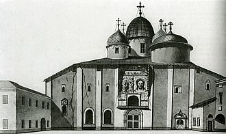 Russian cultural heritage register - Preservation efforts of the 1830s were limited to undisputed relics like the 11th century Saint Sophia Cathedral in Novgorod. This architectural drawing was made in 1830, prior to restoration.