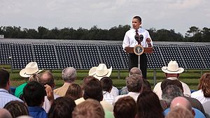 English: President Barack Obama talks at the DeSoto Next Generation Solar Energy Center.