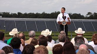 Renewable energy commercialization - President Barack Obama speaks at the DeSoto Next Generation Solar Energy Center.