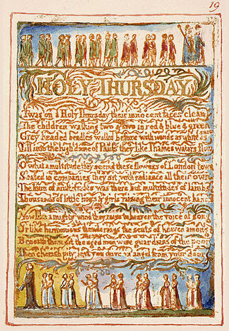 """Holy Thursday (Songs of Innocence) - Copy AA of """"Holy Thursday"""", printed in 1826. This copy is currently held by The Fitzwilliam Museum."""