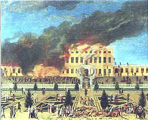 1689 in Denmark - Fire of Sophie Amalienborg on 19 April, painted by Johan Jacob Bruun