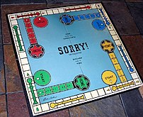 Older Sorry! board game, showing the now-remov...