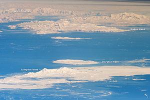South Shetland Islands - South Shetland Islands and Antarctic Peninsula. Astronaut photo, 2011.