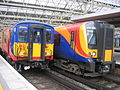 South West Trains Class 450 and 455 at Waterloo.JPG