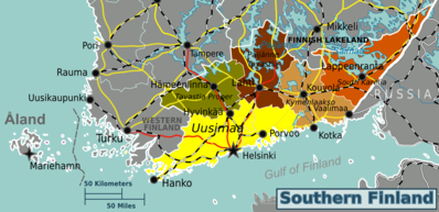 Southern Finland is divided into five regions.