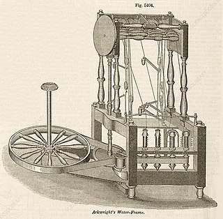 Spinning frame Industrial Revolution invention for spinning thread in a mechanized way