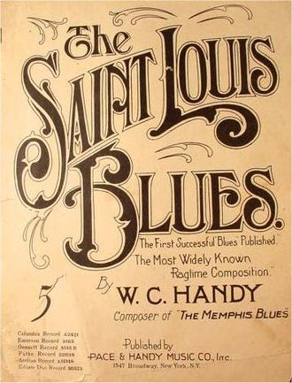 "Calligraphy - Fluid calligraphy from the sheet music cover of W. C. Handy's ""St. Louis Blues"""