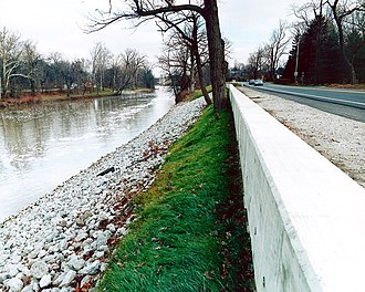 St. Joseph River (Maumee River tributary) - Floodwall along St. Joseph River in Fort Wayne, Indiana.