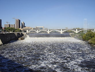 Saint Anthony Falls - The upper dam of St. Anthony Falls with upper lock on the left. The Third Avenue Bridge can be seen in the background. Photo taken in October 2005.