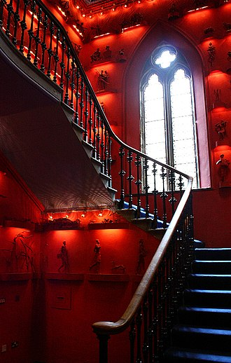 The Hub, Edinburgh - Pugin's interior has been retained, with contemporary artworks lining the Victorian stair