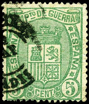War tax stamp - 5 centimo war tax stamp of Spain, 1875.
