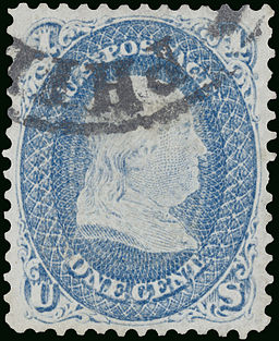 Stamp US 1868 1c Z grill Gross