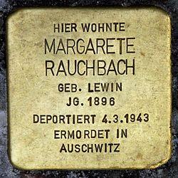 Photo of Margarete Rauchbach brass plaque