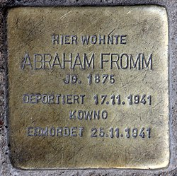 Photo of Abraham Fromm brass plaque