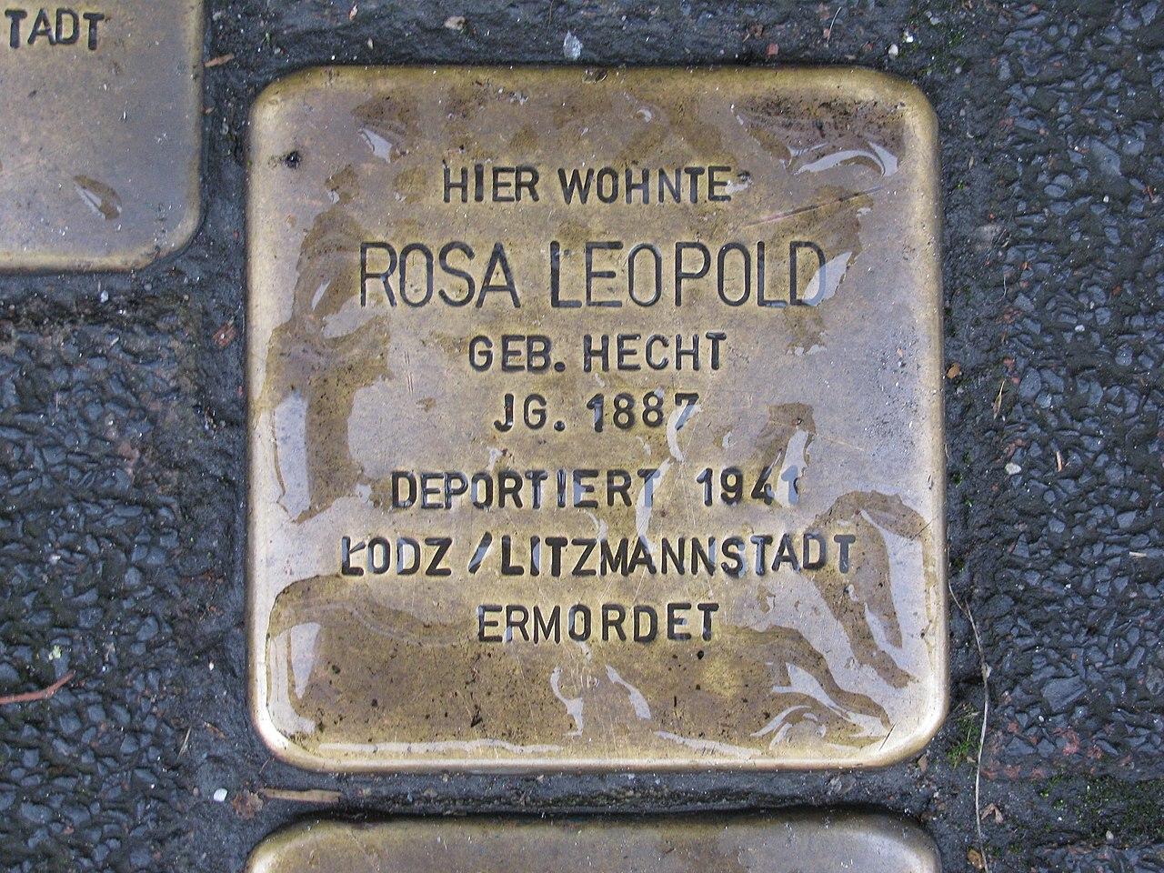 Stolperstein Rosa Leopold, 1, Schiede 28, Limburg an der Lahn, Landkreis Limburg-Weilburg.jpg