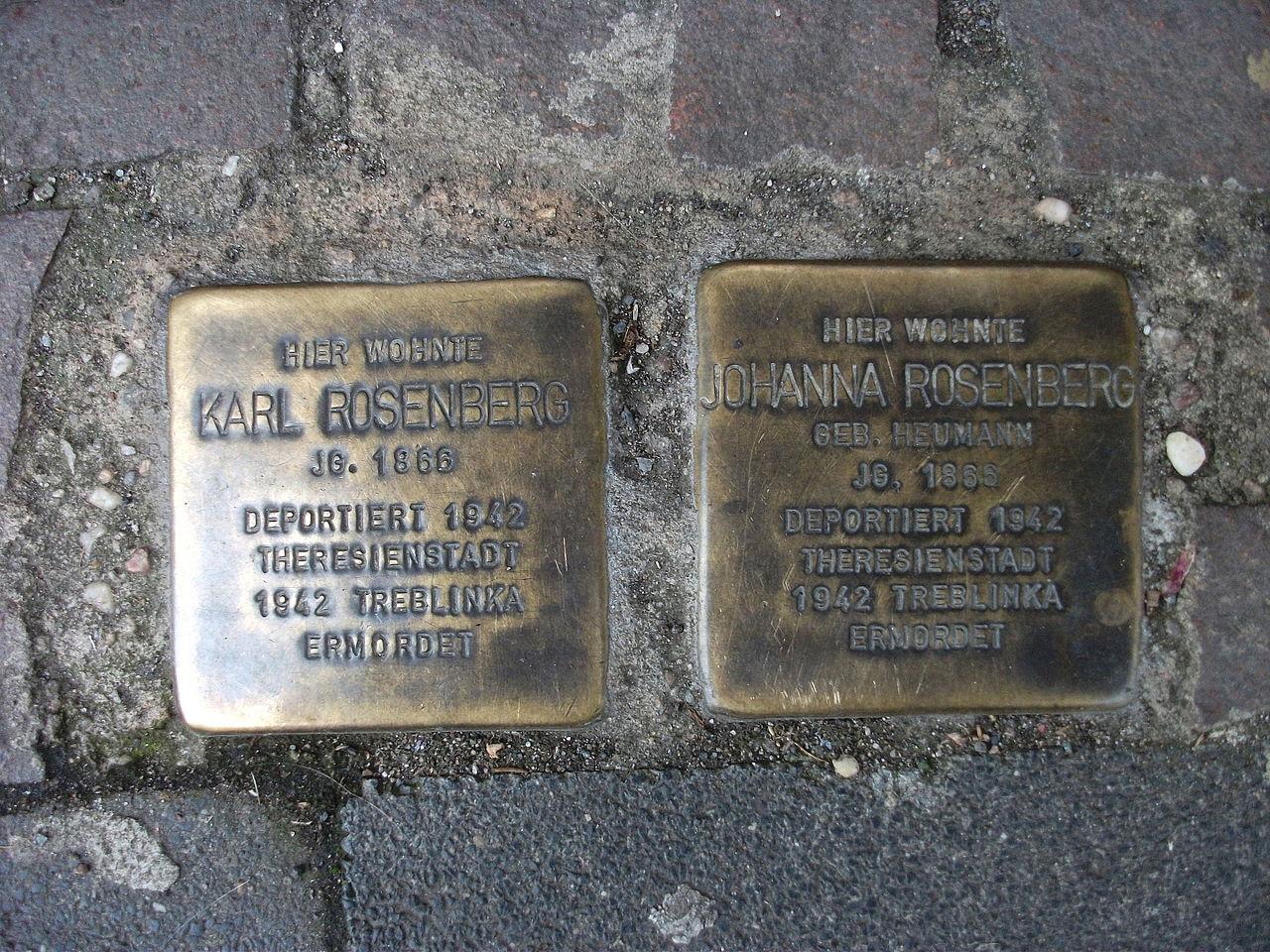 Stolpersteins Karl Rosenberg, Johanna Rosenberg Richard-Wagner-Straße 1 Bonn.JPG