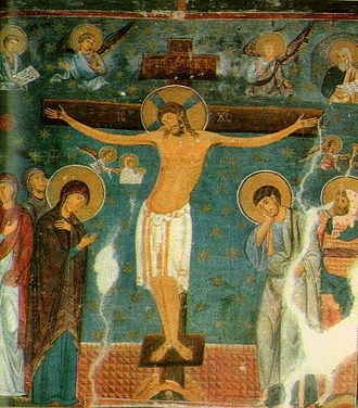 Studenica Monastery - Crucifixion, fresco from Church of the Holy Virgin, Monastery of Studenica, 1208. On the left is St. Mary the Holy Virgin.