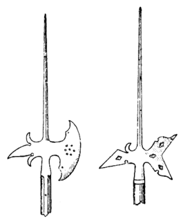 Halberd pole weapon with axe blade topped with a spike