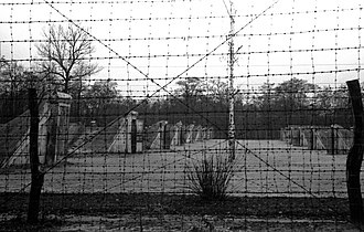 Babi Yar - Syrets concentration camp. Barbed wire fence