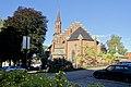 Tønsberg domkirke (Tønsberg Cathedral, Lutheran church built 1858) Norway 2020-08-25 Nordside mot Nedre Slottsgate Tårn spir (tower) (morning light Parked cars ) 03133.jpg