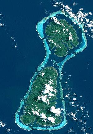 Satellite image of Raiatea (below) and Tahaa