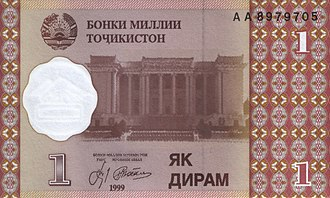 Tajikistani samani - Image: Tajikistan P New 1Diram 1999 f