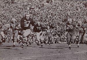Ted Topor - Topor (No. 27) with the football in 1951