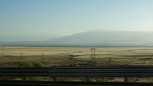 Tehachapi Mountains - View of the Tehachapi Mountains from I-5 as it descends into the Central Valley.