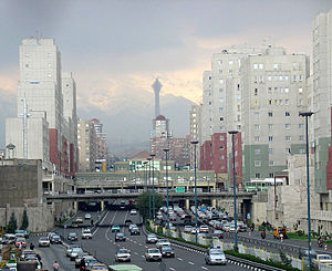 Navvab Street, Tehran, Iran. Milad Tower in th...