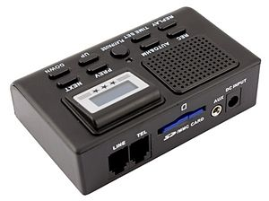 Call-recording hardware - Telephone recorder, is hardware that can be used to record telephone conversations to a harddrive, SD-card, or tape.