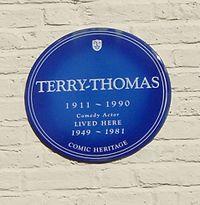 blue plaque commemorating Terry-Thomas
