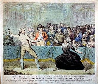 Chevalier d'Éon - Fencing match between Monsieur de Saint-George et Mademoiselle La chevalière d'Éon de Beaumont at Carlton House on 9 April 1787. Engraving by Victor Marie Picot, based on the original painting by Charles Jean Robineau.