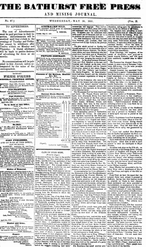 The Bathurst Free Press and Mining Journal - Front page of the first issue titled as The Bathurst Free Press and Mining Journal, 28 May 1851.