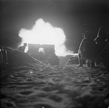 British night artillery barrage which opened the second Battle of El Alamein The Campaign in North Africa 1940-1943 E18469.jpg