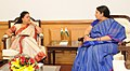 The Chief Minister of Rajasthan, Smt. Vasundhara Raje Scindia meeting the Union Minister for Human Resource Development, Smt. Smriti Irani, in New Delhi on April 11, 2016.jpg