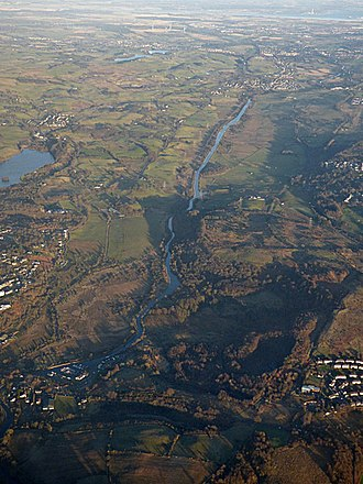 Croy Hill - The Forth and Clyde Canal from the air. Croy Hill (between Auchinstarry marina and Croy) towards Longannet Power Station on the Firth of Forth