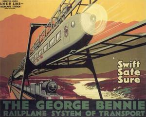 Bennie Railplane - Image: The George Bennie Railplane System of Transport poster, 1929